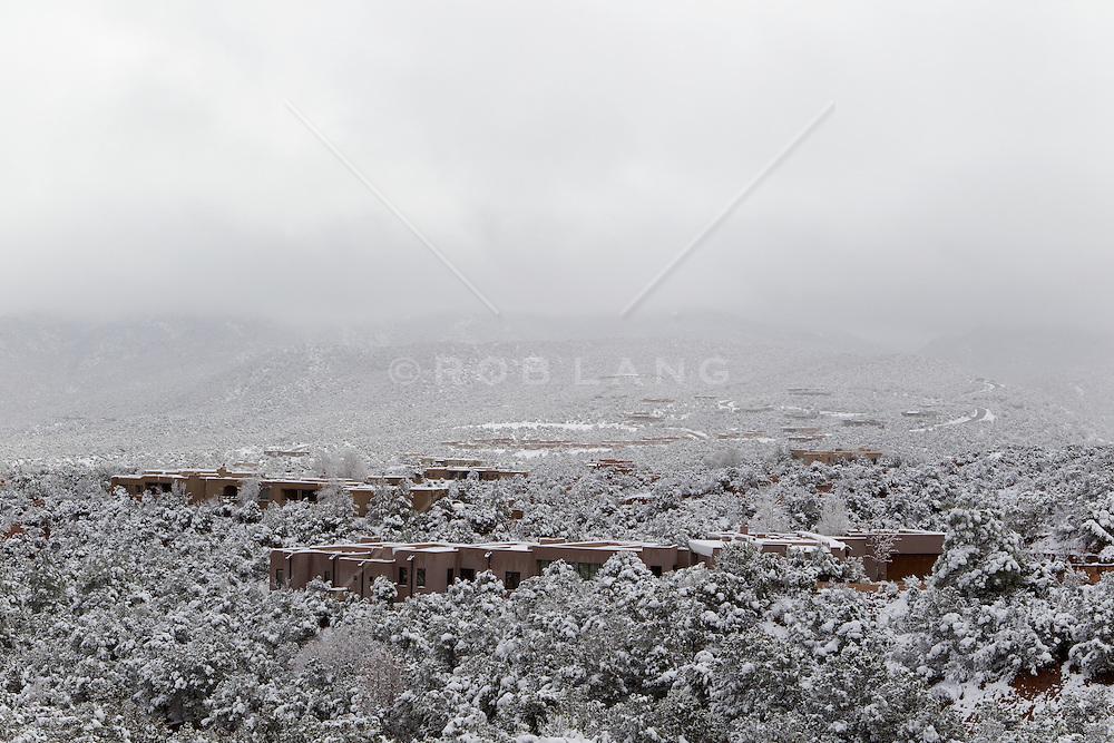 snowy day in Santa Fe, New Mexico residential neighborhood
