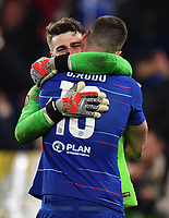 Football - 2018 / 2019 UEFA Europa League - Semi-Final, Second Leg: Chelsea (1) vs. Eintracht Frankfurt (1)<br /> <br /> Chelsea's Olivier Giroud celebrates with Kepa Arrizabalaga after their 4-3 penalty shoot out victory after the scores finished 1-1 after extra time, at Stamford Bridge.<br /> <br /> COLORSPORT/ASHLEY WESTERN