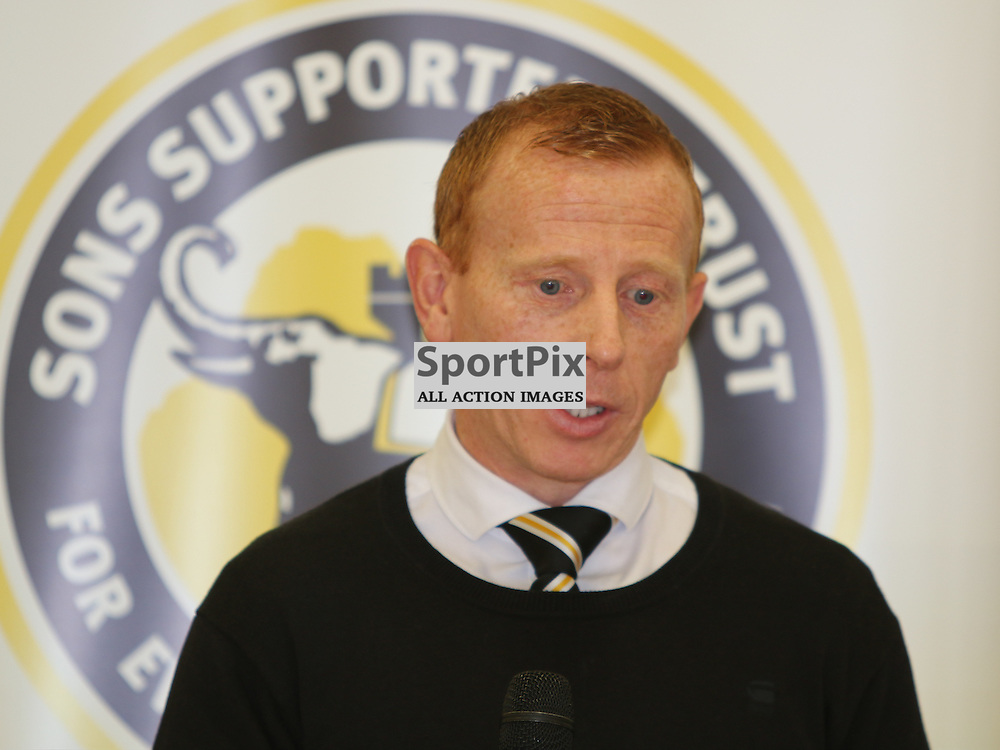 Dumbarton Manager takes question at meet the manager session before the Dumbarton FC  v Livingston FC Scottish Championship 3rd October 2015 <br /> <br /> (c) Andy Scott | SportPix.org.uk