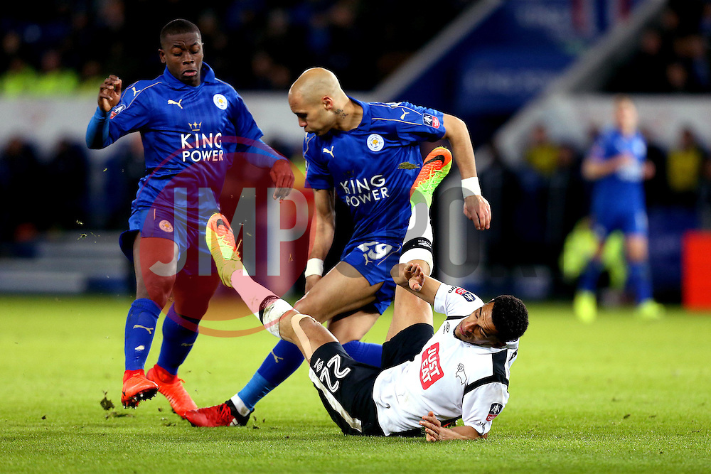 Nick Blackman of Derby County is fouled by Yohan Benalouane of Leicester City - Mandatory by-line: Robbie Stephenson/JMP - 08/02/2017 - FOOTBALL - King Power Stadium - Leicester, England - Leicester City v Derby County - Emirates FA Cup fourth round replay