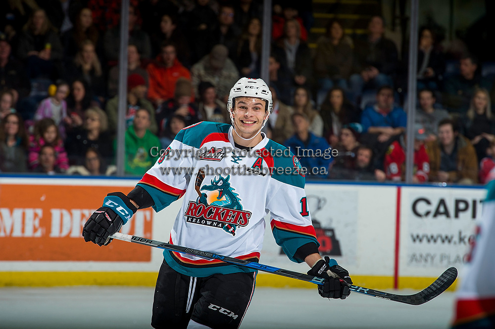 KELOWNA, CANADA - JANUARY 3: Carsen Twarynski #18 of the Kelowna Rockets celebrates a goal against the Tri-City Americans on January 3, 2017 at Prospera Place in Kelowna, British Columbia, Canada.  (Photo by Marissa Baecker/Shoot the Breeze)  *** Local Caption ***
