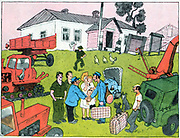 Soviet Russian cartoon satire on state farming. 1970's