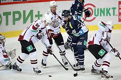 03.10.2014, Dom Sportova, Zagreb, CRO, KHL League, Medvescak vs Dinamo Riga, 13. Runde, im Bild Maris Bicevskis, Georgijs Pujac, Georgijs Pujacss, Mike Hedden // during the Kontinental Hockey League 13th round match between Medvescak and Dinamo Riga at the Dom Sportova in Zagreb, Croatia on 2014/10/03. EXPA Pictures © 2014, PhotoCredit: EXPA/ Pixsell/ Igor Kralj<br /> <br /> *****ATTENTION - for AUT, SLO, SUI, SWE, ITA, FRA only*****