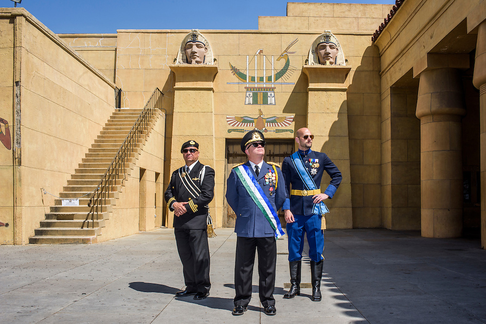 Hollywood, California - April 10, 2015:  Micronationalist leaders Prince Arthur of The House of Homestead of Andorra, President Kevin Baugh of The Republic of Molossia and Grand Duke Travis of WestArctica stop for a stately portrait while touring Hollywood outside Graumans Egyptian Theater Friday, April 10, 2015. The Trio are a selection of more than 20 Micronations who attended MicroCon 2015 in Anaheim that Saturday. <br /> <br /> <br /> <br /> Several MicroCon 2015 attendees toured the Hollywood Walk of Stars. <br /> <br /> MicroCon 2015 is a Micronation conference.<br /> CREDIT: Matt Roth