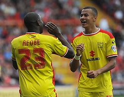 Milton Keynes Dons' Benik Afobe celebrates with team mate. - Photo mandatory by-line: Nizaam Jones- Mobile: 07583 3878221 - 27/09/2014 - SPORT - Football - Bristol - Ashton Gate - Bristol City v MK Dons - Sports