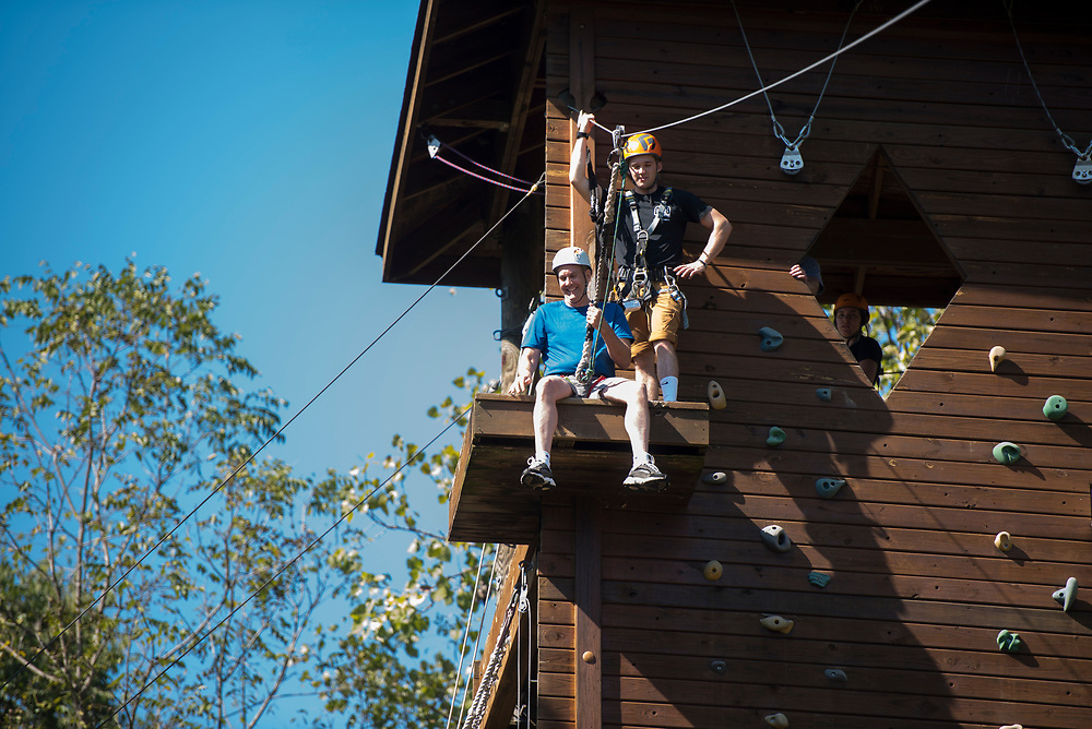 Dean Gaboury ziplines at The Ridges on Parents Weekend. Photo by Hannah Ruhoff
