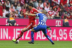 26.10.2013, Allianz Arena, Muenchen, GER, 1. FBL, FC Bayern Muenchen vs Hertha BSC Berlin, 10. Runde, im Bild l-r: im Zweikampf, Aktion, mit Daniel VAN BUYTEN #5 (FC Bayern Muenchen), Aenis BEN-HATIRA #10 (Hertha BSC) // during the German Bundesliga 10th round match between FC Bayern Munich and Hertha BSC Berlin at the Allianz Arena in Muenchen, Germany on 2013/10/26. EXPA Pictures © 2013, PhotoCredit: EXPA/ Eibner-Pressefoto/ Christian Kolbert<br /> <br /> *****ATTENTION - OUT of GER*****