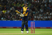 Ryan ten Doeschate of Essex Eagles is surprised by a Wayne Parnell delivery during the Vitality T20 Finals Day 2019 match between Worcestershire County Cricket Club and Essex County Cricket Club at Edgbaston, Birmingham, United Kingdom on 21 September 2019.