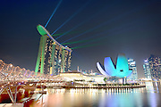 Night View of Marina Bay Sands and the Helix Bridge of Singapore