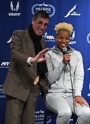 Feb 10, 2017; New York, NY; Ian Brooks (left) and Natasha Hastings (USA) during a press conference prior to the 110th Millrose Games at the NYRR RunCenter.