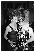 Baroness Francesca Thyssen and Zig Zig Sputnic. La Cage au Folles party. Waldorf. 7 May 1986. © Copyright Photograph by Dafydd Jones 66 Stockwell Park Rd. London SW9 0DA Tel 020 7733 0108 www.dafjones.com