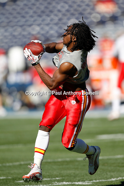 Kansas City Chiefs running back Jamaal Charles (25) catches a pregame pass during the NFL week 14 football game against the San Diego Chargers on Sunday, December 12, 2010 in San Diego, California. The Chargers won the game 31-0. (©Paul Anthony Spinelli)