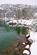 Fresh snow along the shore of Gem Lake, John Muir Wilderness, Sierra Nevada Mountains, California