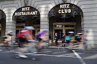 LONDON UK 31ST JULY 2016:  The Ritz Piccadilly. The Prudential RideLondon-Surrey 100 Sportive in London 31st July 2016<br /> <br /> Photo: Eddie Keogh/Silverhub for Prudential RideLondon<br /> <br /> Prudential RideLondon is the world&rsquo;s greatest festival of cycling, involving 95,000+ cyclists &ndash; from Olympic champions to a free family fun ride - riding in events over closed roads in London and Surrey over the weekend of 29th to 31st July 2016. <br /> <br /> See www.PrudentialRideLondon.co.uk for more.<br /> <br /> For further information: media@londonmarathonevents.co.uk