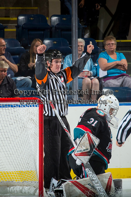 KELOWNA, CANADA - SEPTEMBER 5: Referee Kevin Crowell on September 5, 2017 at Prospera Place in Kelowna, British Columbia, Canada.  (Photo by Marissa Baecker/Shoot the Breeze)  *** Local Caption ***