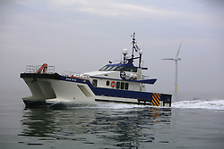 UK ENGLAND NORFOLK SHERINGHAM SHOAL 25SEP13 - Tidal Transit vessel Eden Rose at work at the Sheringham Shoal wind farm off the Norfolk coast, England.<br /> <br /> <br /> <br /> jre/Photo by Jiri Rezac<br /> <br /> <br /> <br /> © Jiri Rezac 2013