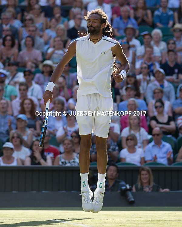DUSTIN BROWN (GER) springt hoch, Emotion,<br /> <br /> Tennis - Wimbledon 2016 - Grand Slam ITF / ATP / WTA -  AELTC - London -  - Great Britain  - 5 July 2017.