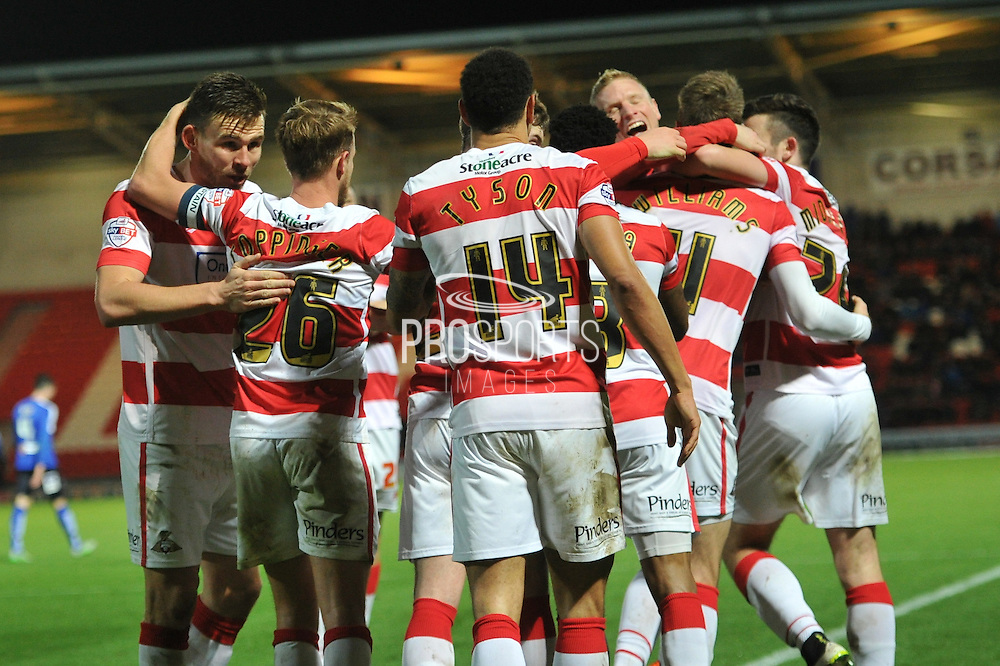 Doncaster celebrate Andy Williams of Doncaster Rovers scoring to go 2-0 up during the Sky Bet League 1 match between Doncaster Rovers and Chesterfield at the Keepmoat Stadium, Doncaster, England on 24 November 2015. Photo by Ian Lyall.