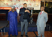 """l to r: Former President of Nigeria, The Honorable Olusegun Obasanjo, Rev. Jesse Jackson and Rev. Al Sharpton at the opening reception of The 12th Annual RainbowPUSH Wall Street Project Economic Summit """" Fallout From The Bailout: A New Day in Washington """""""