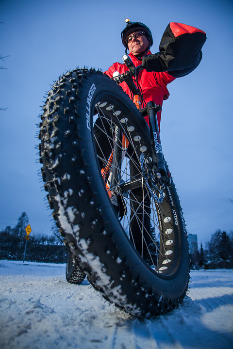 11.15.2012  Emergeny spill response specialist, Pete Pritchard, with his brand new fat tire bicycle, Anchorage.