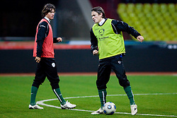 Rene Krhin and Zlatko Dedic at practice of Slovenian team a day before FIFA World Cup 2010 Qualifying match between Russia and Slovenia, on November 13, 2009, in Stadium Luzhniki, Moscow, Russia.  (Photo by Vid Ponikvar / Sportida)