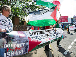 Supporters of the Scottish Palestine Solidarity Campaign demonstrated against Israel's participation in the FIL Rathbones Women's 2015 U19 lacrosse world championships in Edinburgh today. Protests are planned for the team's games against Korea, New Zealand, Finland and the US in the coming four days in the leafy area or Peffermill..<br /> <br /> &copy; Ger Harley/ StockPix.eu