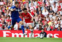 Photo: Richard Lane/Richard Lane Photography. Arsenal v Real Madrid. Emirates Cup. 03/08/2008. Arsenal's Samir Nasri is challenged by Real's Javier Garcia.