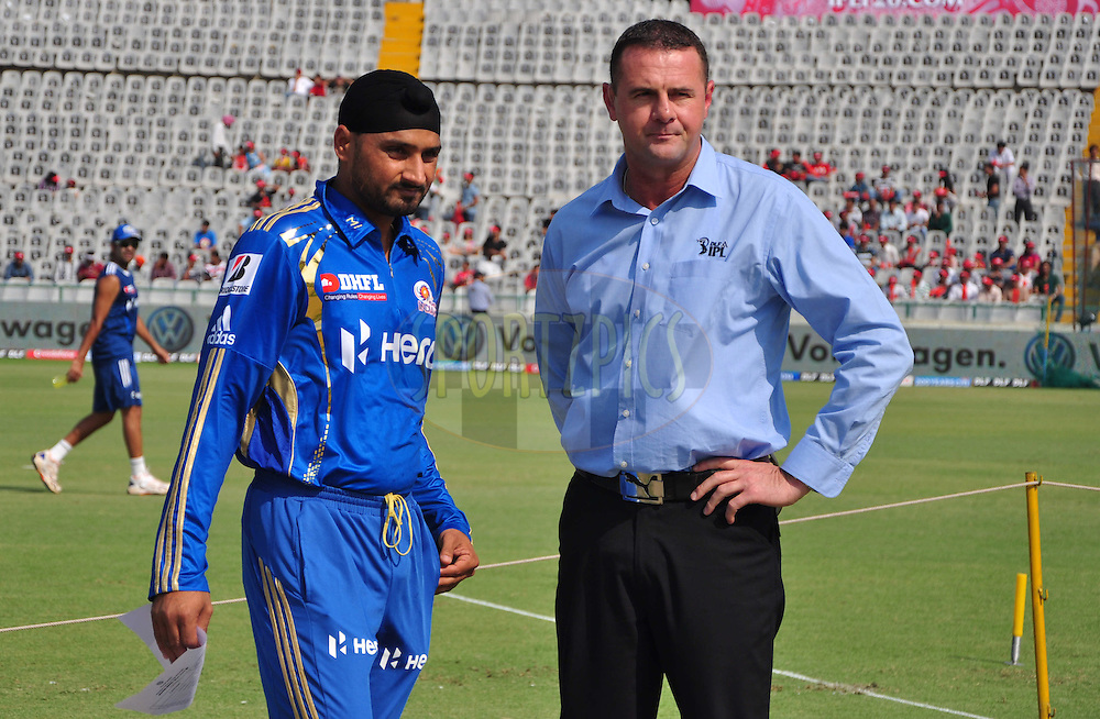 Mumbai Indians  captian Harbhajan Singh with commentator Simon Doull during toss match 33 of the the Indian Premier League ( IPL) 2012  between The Kings X1 Punjab and The Mumbai Indians held at the Punjab Cricket Association Stadium, Mohali on the 25th April 2012..Photo by Arjun Panwar/IPL/SPORTZPICS