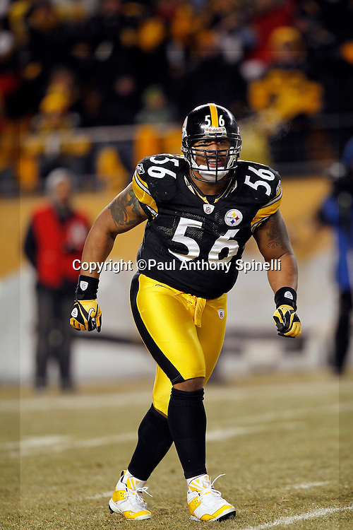 Pittsburgh Steelers linebacker LaMarr Woodley (56) celebrates a quarterback sack in the second quarter during the NFL 2011 AFC Championship playoff football game against the New York Jets on Sunday, January 23, 2011 in Pittsburgh, Pennsylvania. The Steelers won the game 24-19. (©Paul Anthony Spinelli)