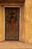 Santa Fe, New Mexico, Canyon Road, Door, Christmas Wreath