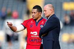 Prop Anthony Perenise talks to Bristol Rugby Director of Rugby Andy Robinson after Bristol win the match 26-30 to finish top of the Championship table going into the playoffs - Photo mandatory by-line: Rogan Thomson/JMP - 07966 386802 - 25/04/2015 - SPORT - Rugby Union - Worcester, England - Sixways Stadium - Worcester Warriors v Bristol Rugby - Greene King IPA Championship.