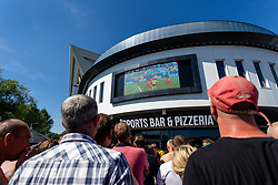 Fans watch the outside big screen - Ryan Hiscott/JMP - 07/07/2018 - FOOTBALL - Ashton Gate - Bristol, England - Sweden v England, World Cup Quarter Final, World Cup Village at Ashton Gate