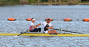 Reading. United Kingdom. GBR M2- bow Alex GREGORY and Mo SBIHI congratulate each other after winning men's pair final. 2014 GBRowing Senior trials,  Redgrave and Pinsent Rowing Lake. Caversham.<br /> <br /> 18:37:02  Saturday  19/04/2014<br /> <br />  [Mandatory Credit: Peter Spurrier/Intersport<br /> Images]