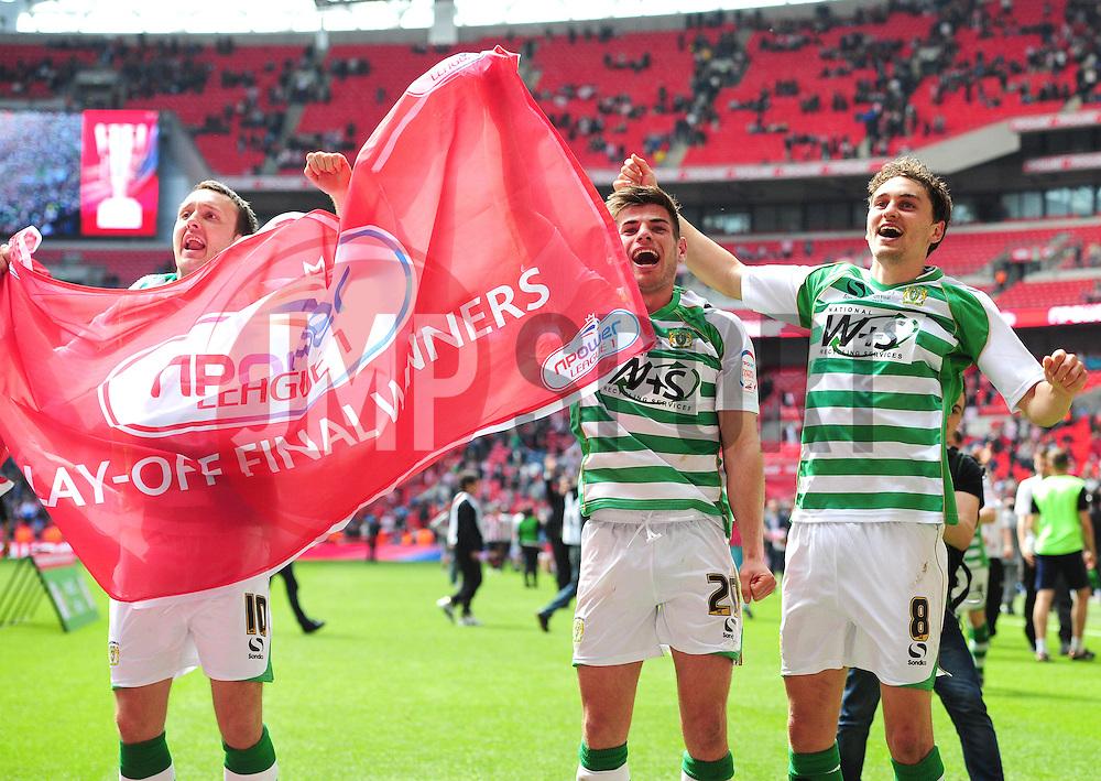 Yeovil player celebrate promotion - Photo mandatory by-line: Joe Meredith/JMP - Tel: Mobile: 07966 386802 19/05/2013 - SPORT - FOOTBALL - LEAGUE 1 - PLAY OFF - FINAL - Wembley Stadium - London - Brentford V Yeovil Town