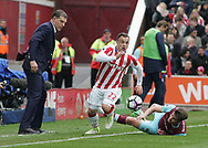 Xherdan Shaqiri of Stoke City gets past Havard Nordtveit of West Ham United during the Premier League match at the Bet 365 Stadium, Stoke-on-Trent.<br /> Picture by Michael Sedgwick/Focus Images Ltd +44 7900 363072<br /> 29/04/2017