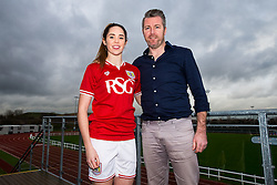 Ellie Wilson of Bristol City Women's FC poses with manager Willie Kirk - Mandatory byline: Rogan Thomson/JMP - 11/01/2016 - FOOTBALL - Stoke Gifford Stadium - Bristol, England - Bristol City Women's FC New Signings.