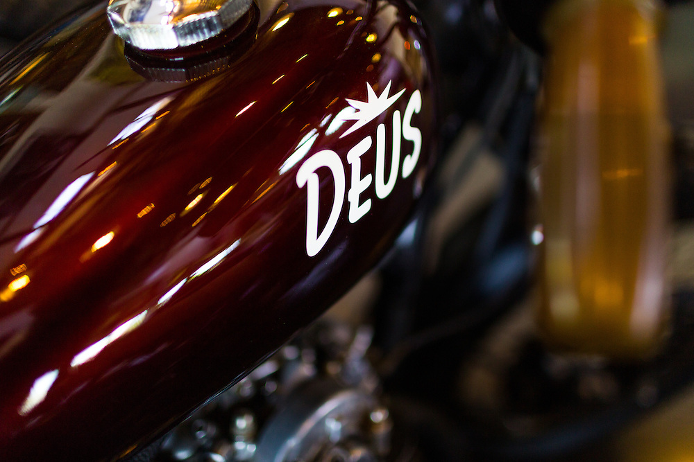 Custom Motorcycles on display at Deus Showroom.