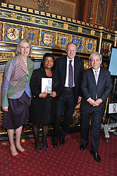 Left to right, The Home Secretary THERESA MAY MP, DOREEN LAWRENCE, the Justice Minister DAMIEN GREEN MP and The Speaker of The House of Commons JOHN BERCOW at a reception for the Stephen Lawrence Charitable Trust hosted by the Speaker of The House of Commons John Bercow and supported by law firm Freshfields Bruckhaus Deringer in The State Rooms, Speaker's House, the House of Commons, London on 19th December 2012.