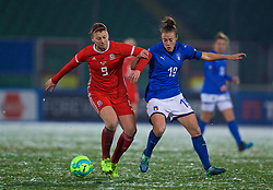 CESENA, ITALY - Tuesday, January 22, 2019: Wales' Emma Jones (L) and Italy's Aurora Galli during the International Friendly between Italy and Wales at the Stadio Dino Manuzzi. (Pic by David Rawcliffe/Propaganda)