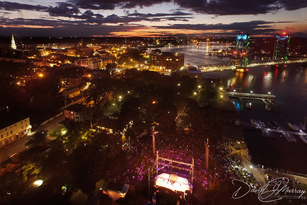 An aerial view of the Matt Andersen concert at Prescott Park Arts Festival in Portsmouth, NH. August 2015.