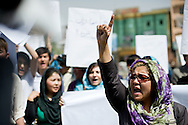 Women and men of Young Women for Change protest the continued violence against women and the murder of a young woman names Shakila. Kabul, Afghanistan