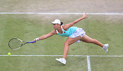 Ashleigh Barty during her WTA Singles Final match with Johanna Konta during day seven of the Nature Valley Open at Nottingham Tennis Centre.