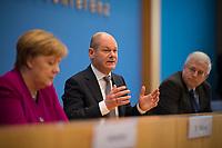 DEU, Deutschland, Germany, Berlin, 12.03.2018: Bundeskanzlerin Dr. Angela Merkel (CDU) und Olaf Scholz (SPD) in der Bundespressekonferenz zum Koalitionsvertrag von CDU, CSU und SPD.