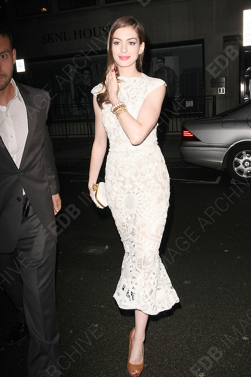 23.AUGUST.2011. LONDON<br /> <br /> ANNE HATHAWAY ATTENDING THE AFTER PARTY FOR NEW FILM 'ONE DAY' AT THE SANDERSON HOTEL IN CENTRAL LONDON.<br /> <br /> BYLINE: EDBIMAGEARCHIVE.COM<br /> <br /> *THIS IMAGE IS STRICTLY FOR UK NEWSPAPERS AND MAGAZINES ONLY*<br /> *FOR WORLD WIDE SALES AND WEB USE PLEASE CONTACT EDBIMAGEARCHIVE - 0208 954 5968*