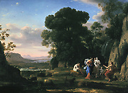 The Judgement of Paris', 1645-1646. Oil on canvas. Claude (c1604-1682  - Claude Gellee also Claude Lorrain) French painter. In Greek mythology Paris, son of Priam  finding Aphrodite (Venus) the most beautiful. Landscape