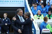 Blackburn Rovers head coach Tony Mowbray and Brighton Manager, Chris Hughton embrace before the EFL Sky Bet Championship match between Brighton and Hove Albion and Blackburn Rovers at the American Express Community Stadium, Brighton and Hove, England on 1 April 2017.