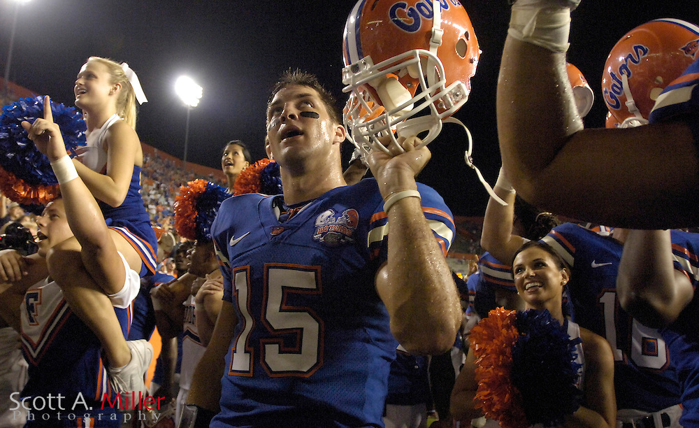 Sept. 9, 2006; Gainesville, FL, USA; Florida Gators quarterback Tim Tebow celebrates the Gators 42-0 win over the Central Florida Golden Knights at Ben Hill Griffin Stadium. ...©2006 Scott A. Miller