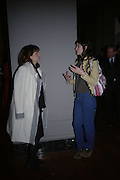 "Alex Shulman and Bella Freud. The private views for Anna Piaggi's exhibition ""Fashion-ology"" and also 'Popaganda: the life and style of JC de Castelbajacat' the Victoria & Albert Museum on January 31  2006. © Copyright Photograph by Dafydd Jones 66 Stockwell Park Rd. London SW9 0DA Tel 020 7733 0108 www.dafjones.com"