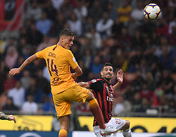 MILAN, Sept. 1, 2018  AC Milan's Mateo Musacchio (R) vies with Roma's Patrik Schick during a Serie A soccer match between AC Milan and AS Roma in Milan, Italy, Aug. 31, 2018. AC Milan won 2-1. (Credit Image: © Alberto Lingria/Xinhua via ZUMA Wire)