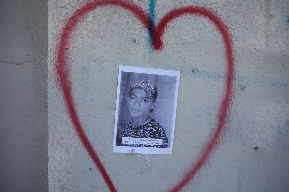A heart around a picture of 16-year-old Ahmed Jaber al-Qattan who was killed by police shotgun in October